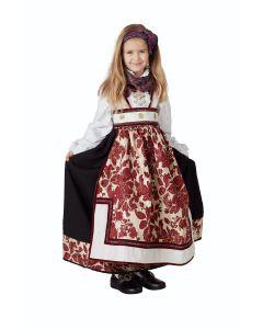 NYHET! Maud festdrakt, hvit/burgunder, m/ Jakke